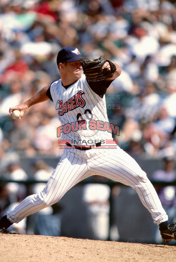 Troy Percival of the Anaheim Angels plays in a baseball game at Edison International Field during the 1998 season in Anaheim, California. (Larry Goren/Four Seam Images)