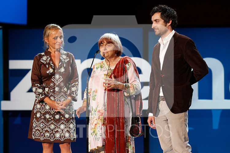 Jacques Demy's family. His Son (r) Mathieu Demy, dougther Rosalle Demy (l) and widow Agnes Varda during the Opening Gala of the 59th San Sebastian Donostia International Film Festival - Zinemaldia.September 16,2011. (ALTERPHOTOS/Acero)