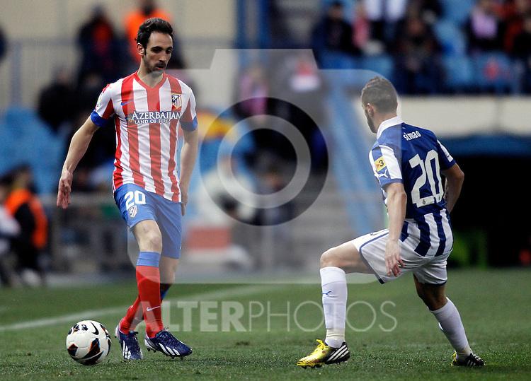 Atletico de Madrid's Juanfran Torres and Espanyol's Simao during La Liga  match. February 24,2013.(ALTERPHOTOS/Alconada)