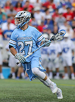 Annapolis, MD - May 20, 2018: Johns Hopkins Blue Jays Thomas Guida (27) in action during the quarterfinal game between Duke vs John Hopkins at  Navy-Marine Corps Memorial Stadium in Annapolis, MD.   (Photo by Elliott Brown/Media Images International)
