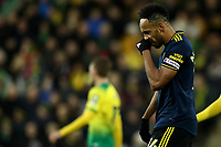 1st December 2019; Carrow Road, Norwich, Norfolk, England, English Premier League Football, Norwich versus Arsenal; A dejected looking Pierre-Emerick Aubameyang of Arsenal - Strictly Editorial Use Only. No use with unauthorized audio, video, data, fixture lists, club/league logos or 'live' services. Online in-match use limited to 120 images, no video emulation. No use in betting, games or single club/league/player publications