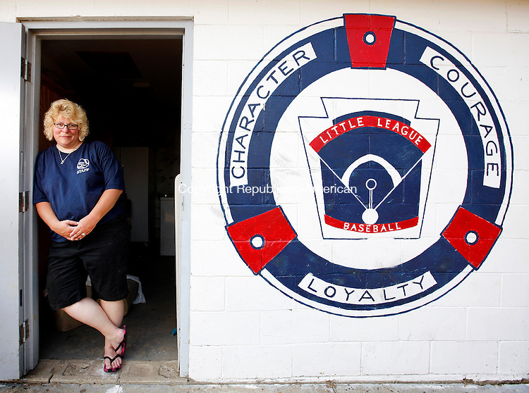 Thomaston, CT- 08, June 2011-060811CM08 Kathy-Jo Butkevicius of Thomaston,  poses for a portrait Wednesday afternoon at Reeves Field in Thomaston.  The Thomaston Little League President will be stepping down from her post after 6 years with the league.  Christopher Massa Republican-American