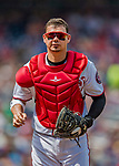 29 April 2017: Washington Nationals catcher Jose Lobaton returns to the dugout during a game against the New York Mets at Nationals Park in Washington, DC. The Mets defeated the Nationals 5-3 to take the second game of their 3-game weekend series. Mandatory Credit: Ed Wolfstein Photo *** RAW (NEF) Image File Available ***