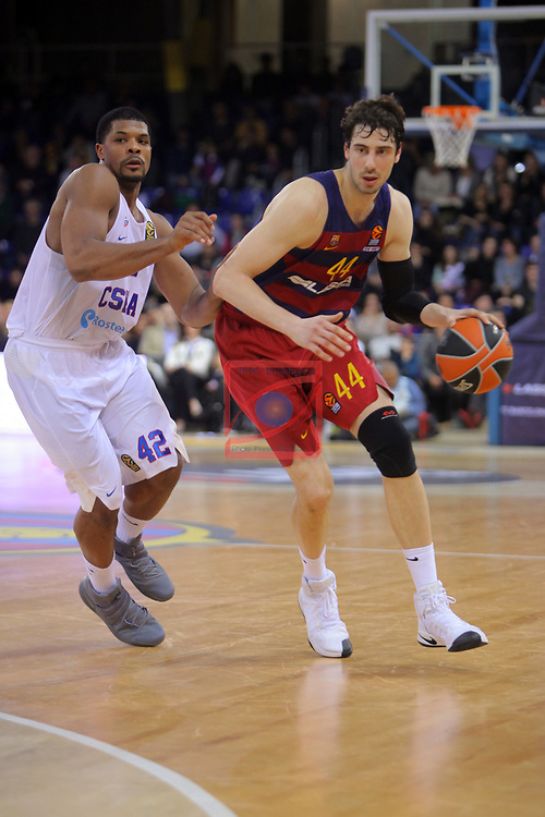 Turkish Airlines Euroleague 2016/2017.<br /> Regular Season - Round 24.<br /> FC Barcelona Lassa vs CSKA Moscow: 61-85.<br /> Kyle Hines vs Ante Tomic.