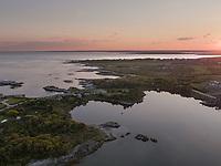 Ocean Drive, Newport, RI aerial view sunset