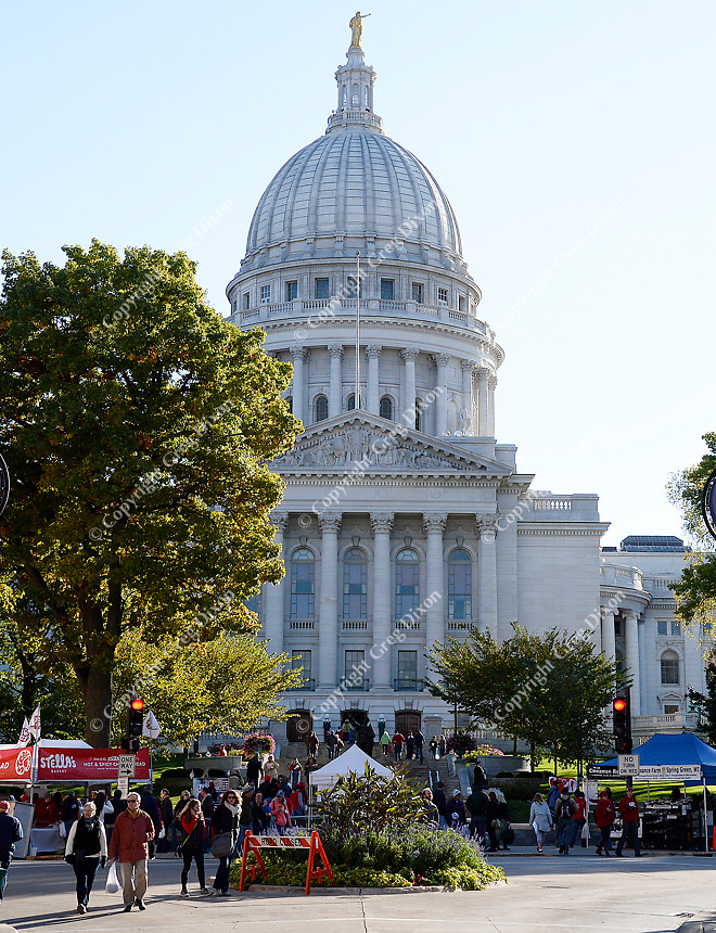The Wisconsin State Capitol Building and Dane County Farmers' Market on Saturday, October 17, 2015 in Madison, Wisconsin