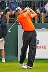 29 August 2009: Sergio Garcia of Spain tees off on the first hole during the third round of The Barclays PGA Playoffs at Liberty National Golf Course in Jersey City, New Jersey.