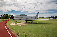 The F-86 Sabre Fixed wing aircraft display along Mopac Expressway at the Texas Military Forces Museum, Camp Mabry - Stock Image.