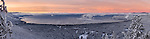 Sunrise ultra high-resolution panoramic view of Lake Tahoe after recent Snowfall.