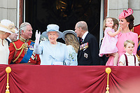 Queen, Princess Charlotte, Catherine Duchess of Cambridge and Prince George<br /> on the balcony of Buckingham Palace during Trooping the Colour on The Mall, London. <br /> <br /> <br /> &copy;Ash Knotek  D3283  17/06/2017