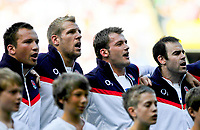 Paul Doran-Jones, James Haskell, Mark Cueto and Charlie Hodgson line-up to sing the national anthem. MasterCard Trophy International match between England and the Barbarians on May 30, 2010 at Twickenham Stadium in London, England. [Mandatory Credit: Patrick Khachfe/Onside Images]