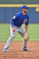 Chicago Cubs third baseman Kris Bryant (17) awaits the play during a game against the Atlanta Braves at Turner Field on June 11, 2016 in Atlanta, Georgia. The Cubs defeated the Braves 8-2. (Tony Farlow/Four Seam Images)