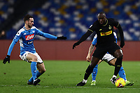 6th January 2020; Stadio San Paolo, Naples, Campania, Italy; Serie A Football, Napoli versus Inter Milan; Romelu Lukaku of Inter holds off the challenge from Giovanni Di Lorenzo of Napoli to score for Milan