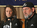 February 24, 2012, Tokyo, Japan - Scott West,  Sea Shepherd Conservation Societys director for Investigation, speaks during a news conference at Tokyos Foreign Correspondents Club of Japan on Friday, February 24, 2012. At left is Erwin Vermeulen, a Dutch activist linked to the anti-whaling group. Vermeulen, 42, was acquitted on February 22 of assaulting a Japanese worker in the western Japanese whaling town of Taiji. Vermeulen was indicted for allegedly punching the man in December when he was stopped from entering an off-limits area near a secluded bay where large dolphin hunts take place. (Photo by Natsuki Sakai/AFLO) AYF -mis-