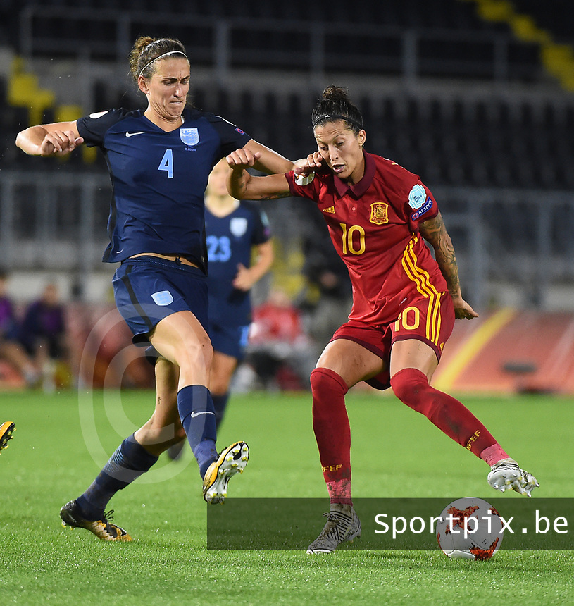 20170723 - BREDA , NETHERLANDS : English Jill Scott (L) and Spanish Jennifer Hermoso (R) pictured during the female soccer game between England and Spain  , the second game in group D at the Women's Euro 2017 , European Championship in The Netherlands 2017 , Sunday 23 th June 2017 at Stadion Rat Verlegh in Breda , The Netherlands PHOTO SPORTPIX.BE | DIRK VUYLSTEKE