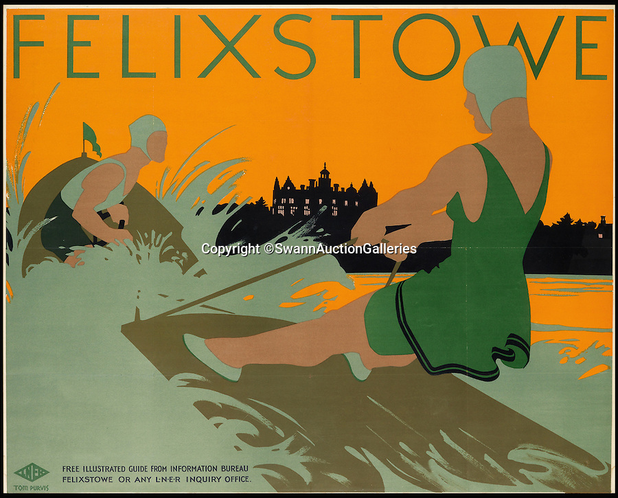 BNPS.co.uk (01202 558833)<br /> Pic: SwannAuctionGalleries/BNPS<br /> <br /> Water skiing in the unlikely surroundings of Felixstowe.<br /> <br /> Travel posters opening a window into British seaside holidays of the past have emerged at auction. <br /> <br /> The selection of images, which were displayed at railway stations in the early 20th century, are among 200 being sold in the USA next month and expected to fetch hundreds of thousands of pounds. <br /> <br /> They feature paintings from prominent artists of the time and show a sharp contrast to the styles of today. <br /> <br /> The posters are being auctioned by Swann Galleries in New York on October 27.