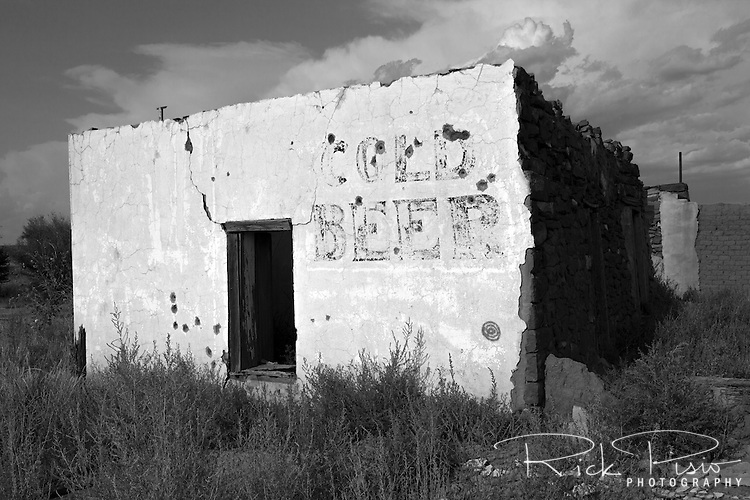 An abandoned store still advertises cold beer in Montoya, New Mexico