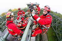 Germany, DEU, Waltrop, 2013Oct16: Local fire fighters have a high angle rescue exercise at the old ship canal lift Henrichenburg.