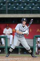 Brett Impemba (20) of the Oakland Grizzlies bats during a game against the Southern California Trojans at Dedeaux Field on February 21, 2015 in Los Angeles, California. Southern California defeated Oakland, 11-1. (Larry Goren/Four Seam Images)