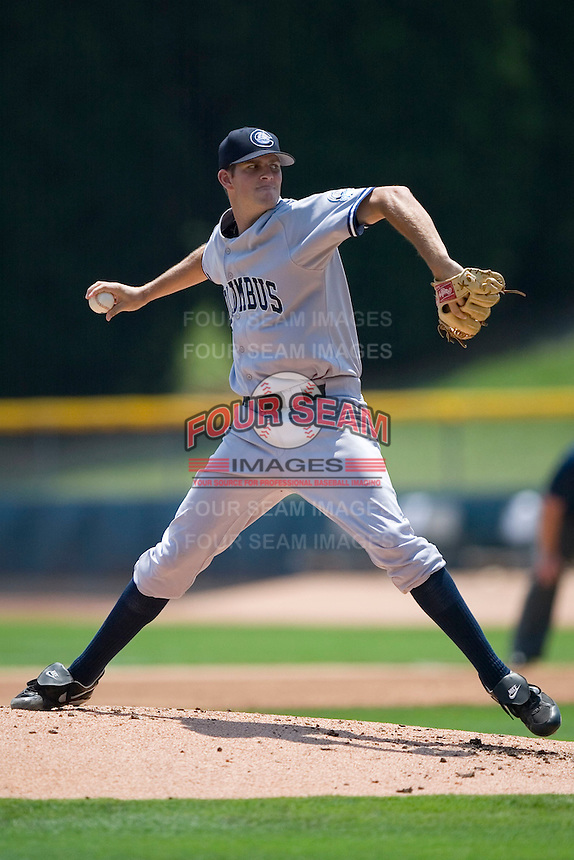 Columbus Clippers starting pitcher Steven White winds up to deliver the ball to the plate versus the Charlotte Knights at Knights Stadium in Fort Mill, SC, Tuesday, July 18, 2006.