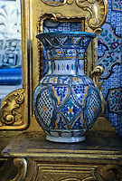 Tunisia, Sidi Bou Said.  Decorative Pottery in the Dar Annabi, a Private Home open for Public Viewing.  Originally constructed 18th. century, remodeled 20th. century.