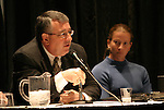 "17 January 2004: Boston Breakers general manager Joe Cummings (left) and goalkeeper Tracy Ducar (right) during a panel discussion titled ""Can Women's Professional Soccer Survive in America"" at the Charlotte Convention Center in Charlotte, NC as part of the annual National Soccer Coaches Association of America convention.."