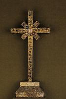 Europe/France/Auvergne/12/Aveyron/Conques: Trésor - Croix vermeil - Bandes filigranes XIIème siècle