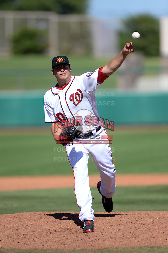Mesa Solar Sox pitcher Sammy Solis (30), of the Washington Nationals organization, during an Arizona Fall League game against the Scottsdale Scorpions on October 15, 2013 at HoHoKam Park in Mesa, Arizona.  Mesa defeated Scottsdale 7-4.  (Mike Janes/Four Seam Images)