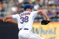 New York Mets pitcher Chris Capuano #38 during a game against the Milwakee Brewers at Citi Field on August 20, 2011 in Queens, NY.  Brewers defeated Mets 11-9.  Tomasso DeRosa/Four Seam Images