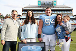 CHAPEL HILL, NC - NOVEMBER 18: UNC's Cam Dillard was honored as part of Senior Day pregame activities. The University of North Carolina Tar Heels hosted the Western Carolina University Catamounts on November 18, 2017 at Kenan Memorial Stadium in Chapel Hill, NC in a Division I College Football game. UNC won the game 65-10.