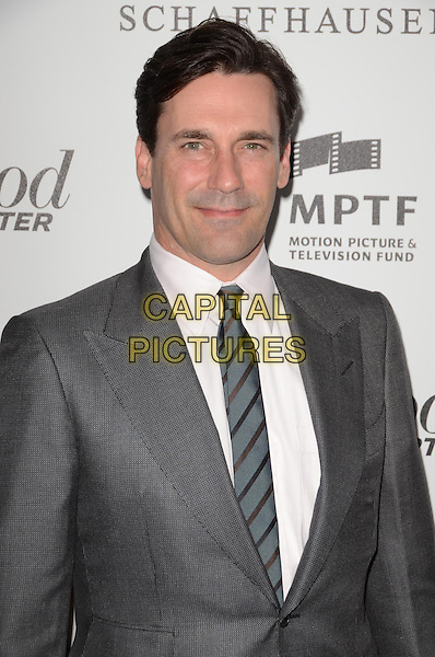 Jon Hamm .The Motion Picture & Television Fund Presentation of 'Reel Stories Real Lives'  held at Milk Studios, Los Angeles, California, USA, 20th October 2012..half length  grey gray tie white shirt suit .CAP/ADM/TW.©Tonya Wise/AdMedia/Capital Pictures.