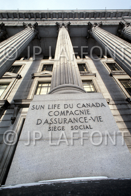 Montreal, Canada, March 1978. Sun Life insurance company building.