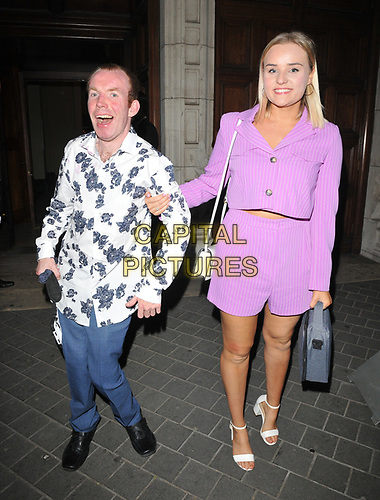 Lee Ridley (Lost Voice Guy) and guest at the Syco summer party, Victoria and Albert Museum, Cromwell Road, London, England, UK, on Thursday 04th July 2019.<br /> CAP/CAN<br /> ©CAN/Capital Pictures