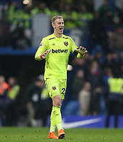 West Ham United's Joe Hart celebrates at the end of the game<br /> <br /> Photographer Rob Newell/CameraSport<br /> <br /> The Premier League - Chelsea v West Ham United - Sunday 8th April 2018 - Stamford Bridge - London<br /> <br /> World Copyright &copy; 2018 CameraSport. All rights reserved. 43 Linden Ave. Countesthorpe. Leicester. England. LE8 5PG - Tel: +44 (0) 116 277 4147 - admin@camerasport.com - www.camerasport.com