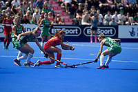 Spain's Begona Garcia trying to get past Ireland's defence<br /> <br /> Photographer Hannah Fountain/CameraSport<br /> <br /> Vitality Hockey Women's World Cup - Ireland v Spain - Saturday 4th August 2018 - Lee Valley Hockey and Tennis Centre - Stratford<br /> <br /> World Copyright &copy; 2018 CameraSport. All rights reserved. 43 Linden Ave. Countesthorpe. Leicester. England. LE8 5PG - Tel: +44 (0) 116 277 4147 - admin@camerasport.com - www.camerasport.com