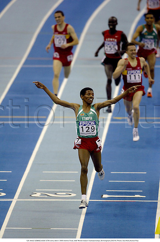 129. HAILE GEBRSELASSIE (ETH) wins, Men's 3000 metres Final, IAAF World Indoor Championships, Birmingham,030316. Photo: Glyn Kirk/Action Plus...2003.athletics track and field athlete athletes