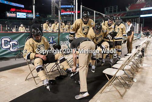 Blake Box (Army - 12), C.J. Reuschlein (Army - 13), Tyler Pham (Army - 9), Dalton MacAfee (Army - 2) - The Bentley University Falcons defeated the Army West Point Black Knights 3-1 (EN) on Thursday, January 5, 2017, at Fenway Park in Boston, Massachusetts.The Bentley University Falcons defeated the Army West Point Black Knights 3-1 (EN) on Thursday, January 5, 2017, at Fenway Park in Boston, Massachusetts.