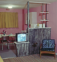 Rest Cove Motel, Wildwood, New Jersey, Black & White TV & kitchen area, 1960's