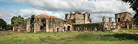 Monasterio de San Francisco, a monastery built 1508 by Spanish Franciscan friars, in the Colonial Zone of Santo Domingo, Dominican Republic, in the Caribbean. The complex was built under Nicolas de Ovando and it is the first monastery in the New World. The building has been repeatedly damaged by hurricanes and earthquakes and is now in ruins. Santo Domingo's Colonial Zone is listed as a UNESCO World Heritage Site. Picture by Manuel Cohen