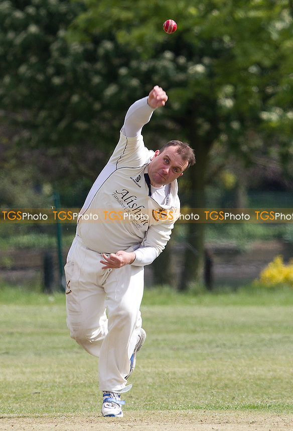 John Curtis of Upminster in action - Ilford CC vs Upminster CC - Essex Cricket League at Valentines Park, Ilford, Essex  - 18/05/13 - MANDATORY CREDIT: Ray Lawrence/TGSPHOTO - Self billing applies where appropriate - 0845 094 6026 - contact@tgsphoto.co.uk - NO UNPAID USE.