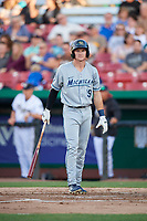 West Michigan Whitecaps center fielder Brock Deatherage (19) at bat during a game against the Kane County Cougars on July 19, 2018 at Northwestern Medicine Field in Geneva, Illinois.  Kane County defeated West Michigan 8-5.  (Mike Janes/Four Seam Images)