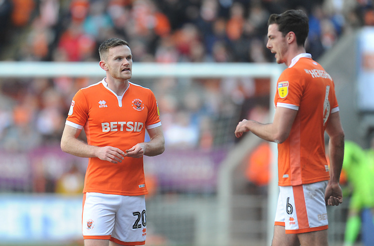 Blackpool's Oliver Turton chats with Ben Heneghan<br /> <br /> Photographer Kevin Barnes/CameraSport<br /> <br /> The EFL Sky Bet League One - Blackpool v Southend United - Saturday 9th March 2019 - Bloomfield Road - Blackpool<br /> <br /> World Copyright © 2019 CameraSport. All rights reserved. 43 Linden Ave. Countesthorpe. Leicester. England. LE8 5PG - Tel: +44 (0) 116 277 4147 - admin@camerasport.com - www.camerasport.com