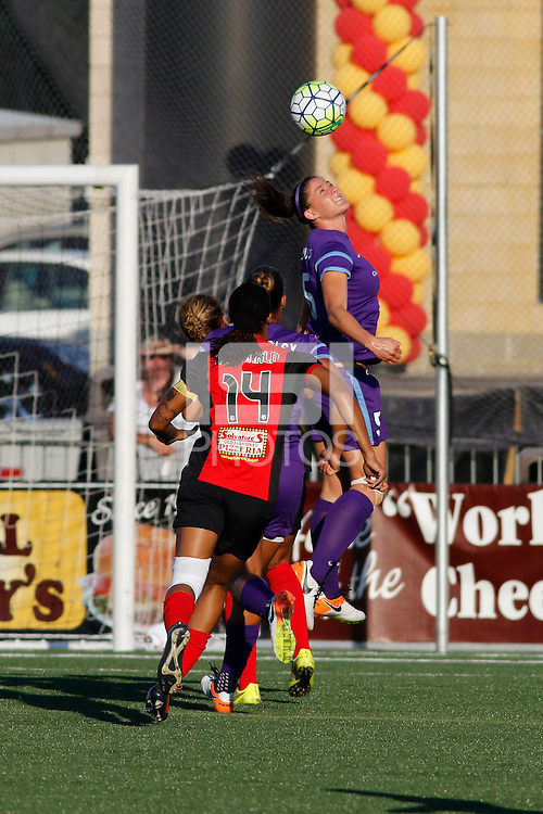 Rochester, NY - Saturday June 11, 2016: Orlando Pride forward Laura Alleway (5) during a regular season National Women's Soccer League (NWSL) match between the Western New York Flash and the Orlando Pride at Rochester Rhinos Stadium.