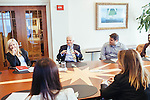 Ted Turner fields questions about his life from CNN Journalism Fellows, who are from all over the world, in his building in downtown Atlanta October 23, 2013.