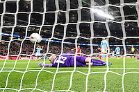 Wilfredo Caballero of Manchester City fails to prevent Liverpool from equalising towards the end of normal time during the Capital One Cup match between Liverpool and Manchester City at Wembley Stadium, London, England on 28 February 2016. Photo by David Horn / PRiME Media Images.