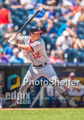 25 August 2013: Washington Nationals outfielder Tyler Moore in action against the Kansas City Royals at Kauffman Stadium in Kansas City, MO. The Royals defeated the Nationals 6-4, to take the final game of their 3-game inter-league series. Mandatory Credit: Ed Wolfstein Photo *** RAW (NEF) Image File Available ***