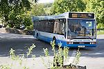 The Craven Connection public transport bus service, in Clapham village, Yorkshire Dales national park, England, UK