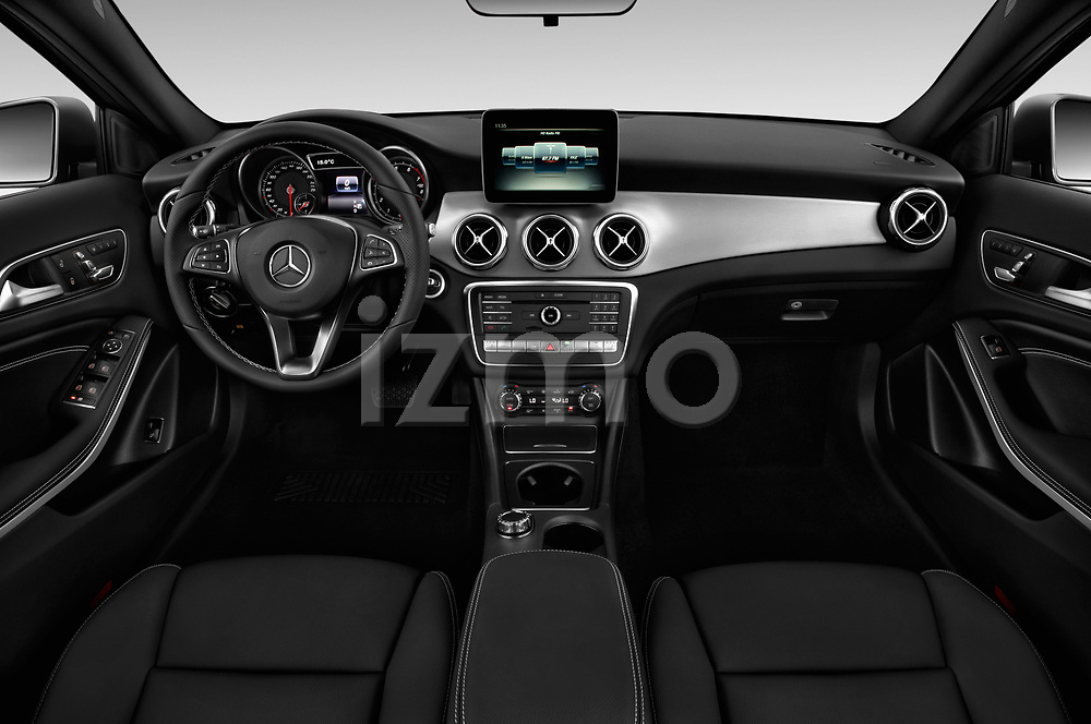 Stock photo of straight dashboard view of a 2018 Mercedes Benz GLA Base 5 Door SUV