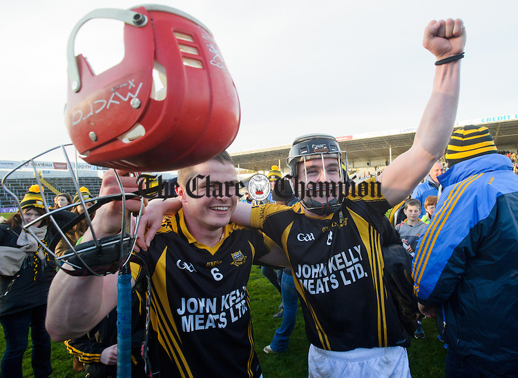 Paul Flanagan of Ballyea celebrates with Tony Kelly following the Munster Club hurling final against Glen Rovers at Thurles. Photograph by John Kelly.