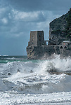 Stormy seas in the normally picturesque town of Positano on the Amalfi Coast in Italy.